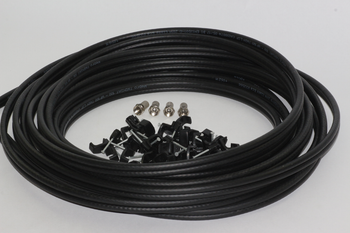 40m of Black Webro WF100 Twin Satellite Cable With 4 x F Plugs, Free Cable Clips