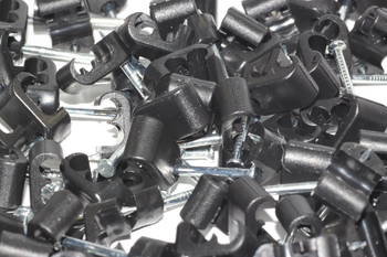 100 x Black Twin Satellite Shotgun Cable Clips, Sky Plus, Sky HD, CB63R, WF65
