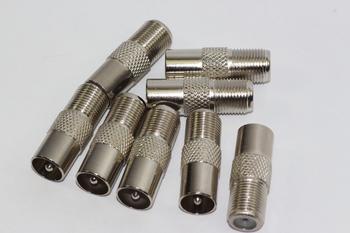 8 x Satellite F Socket to Male Coax Plug Adaptor Converter Connector