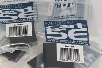 5 x  Philex Full Width 50mm x 50mm Black Modular Blanking Blank Plate - 70407BK