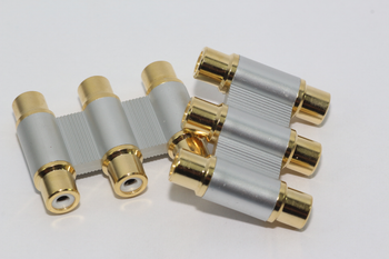 2 x Gold Plated 3 Way Metal RCA Phono Coupler Joiner Adaptor, 3 x Phono Female