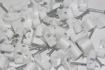 50 x White Twin Satellite Shotgun Cable Clips, Sky Plus, Sky HD, CB63R, WF65