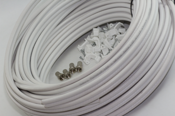 30m of White Webro WF100 Twin Satellite Cable With 4 x F Plugs, Free Cable Clips
