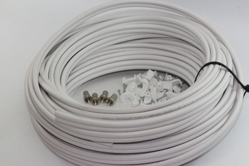 40m of White Webro WF100 Twin Satellite Cable With 4 x F Plugs, Free Cable Clips