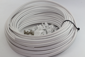50m of White Webro WF100 Twin Satellite Cable With 4 x F Plugs, Free Cable Clips