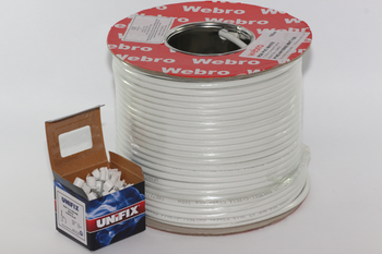 100m of White Webro Double Screened RG6 Satellite Aerial Coax Cable & 100 Clips