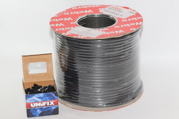 100m of Black Webro Double Screened RG6 Satellite Aerial Coax Cable & 100 Clips