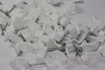 50 x White 6mm FT&E Flat Cable Clips for Twin Coax Cable Webro WF100, 13mm Wide