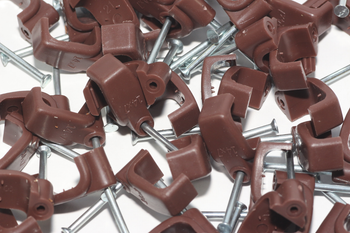 50 x Brown 6mm FT&E Flat Cable Clips for Twin Coax Cable Webro WF100, 13mm Wide