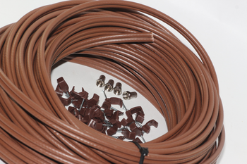 40m of Brown Webro WF100 Twin Satellite Cable With 4 x F Plugs, Free Cable Clips