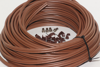 20m of Brown Webro WF100 Twin Satellite Cable With 4 x F Plugs, Free Cable Clips