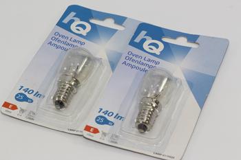 2 x HQ 25W E14 SES High Temperature Small Screw In Oven Lamp Bulb 220-240V AC