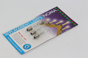 3 Pack of Noma C1 / 188, 34V, 3W, E10, MES Spare Welcome Candle Bridge Bulbs