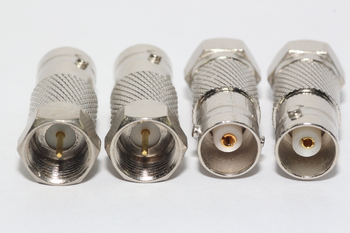 4 x Zink Plated Metal F Male Plug to BNC Female Socket Straight Adaptor