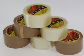 6 Rolls - 3 x 3M Buff / Brown & 3 x 3M Clear / Transparent Parcel Packaging Tape
