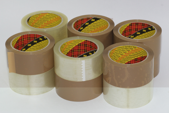 12 Rolls, 6 x 3M Buff / Brown & 6 x 3M Clear / Transparent Parcel Packaging Tape