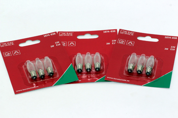 9 Pack Of Konstsmide 23V, 3W, E10, MES Spare Welcome Candle Bridge Light Bulbs