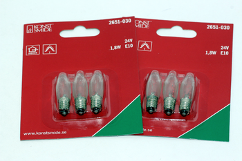 6 Pack Of KonstsmIde 24V, 1.8W, E10, MES Spare Welcome Candle BrIdge Bulbs