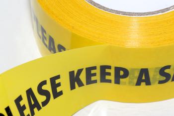 3 x 66m Roll of 2 Metre Social Distancing Self Adhesive Yellow Hazard Floor Tape