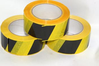 3 x 66m x 48mm Roll of Black Yellow Social Distancing Vinyl Floor Hazard Tape