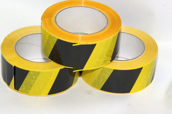 3 x 66m x 48mm Roll of Black Yellow Social Distancing Vinyl Floor Hazard Tape