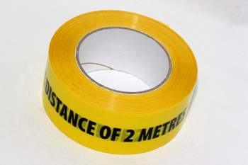 66m Roll of 2 Metre Social Distancing Self Adhesive Yellow Warning Floor Tape
