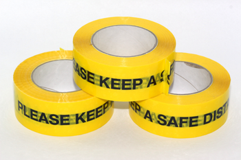3 x 66m Roll of Keep a Safe Distance Social Distancing Yellow Warning Floor Tape