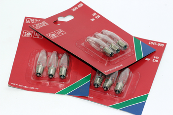 9 Pack Of Konstsmide 14V, 3W, E10, MES Spare Welcome Candle Bridge Light Bulbs