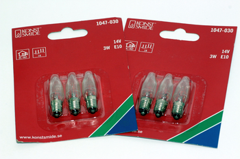 6 Pack Of Konstsmide 14V, 3W, E10, MES Spare Welcome Candle Bridge Light Bulbs