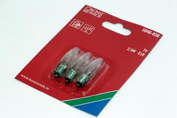 3 Pack Of Konstsmide 7V, 2.5W, E10, MES Spare Apex Bulb For 35 Lamp Light Sets