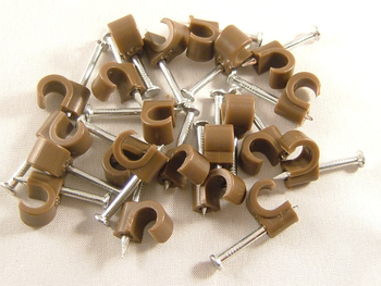Cable Clips 7mm Satellite And Aerial Coax Brown 50 pack