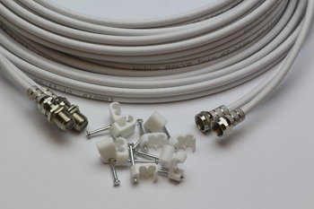 10m White Twin Satellite Shotgun Extension Cable Sky Plus SKY HD & Cable Clips