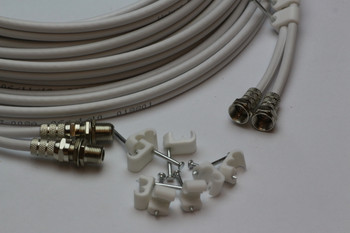 5m Twin White Satellite Shotgun Coax Cable Extension Kit for Sky Plus, Sky HD, Freesat & 5 Special Masonry Cable Clips