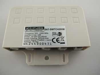 Konig 4 Way DiSEqC Switch V2.0 Combine Up To 4 Dishes Or LNB's Weatherproof