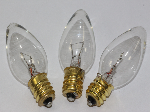 12V 3W 0.25A E12 Clear Christmas Lights Spare Bulbs x 3 Pifco Dencon 795WC