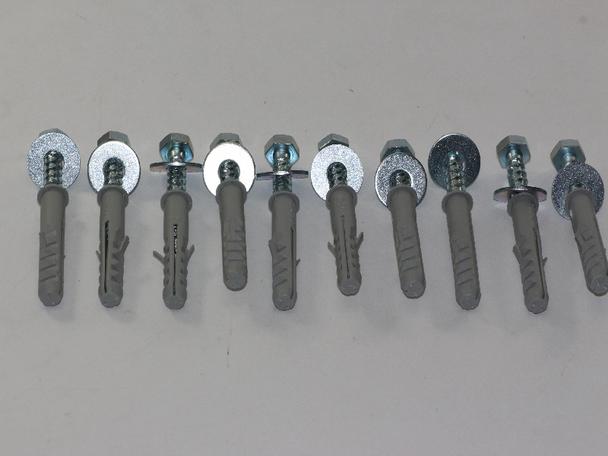 10 x M8 x 50mm Masonry Brick Wall Fixing Screw Bolts & Raw Plugs With Washers