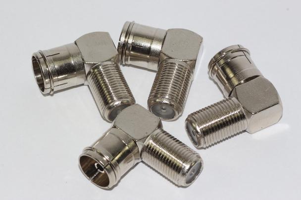 4 x Right Angled F Connector Female Socket to Female Coax TV Aerial Plug - Zinc