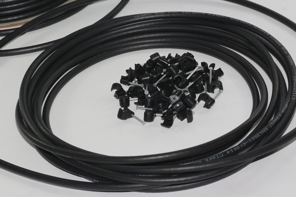 50m of Black Webro Double Screened RG6 Satellite Aerial Coax Cable and 50 Clips
