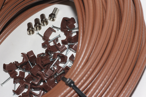 50m of Brown Webro WF100 Twin Satellite Cable With 4 x F Plugs, Free Cable Clips