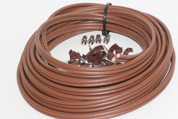 10m of Brown Webro WF100 Twin Satellite Cable With 4 x F Plugs, Free Cable Clips