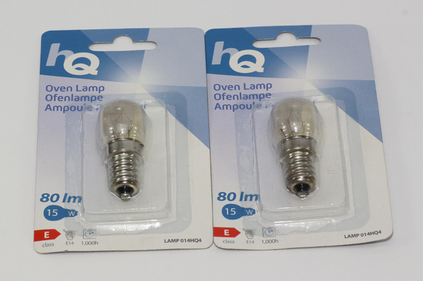 2 x HQ 15W E14 SES High Temperature Small Screw In Oven Lamp Bulb 220-240V AC