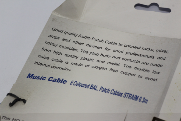 0.3m x 6 Straight to Right Angled 1/4 Inch Jack Plug Balanced Guitar Patch Cable