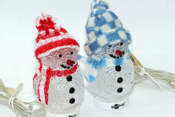 2 x USB LED Christmas Snowman With Hat & Big Red Nose & XMAS Colour Changing