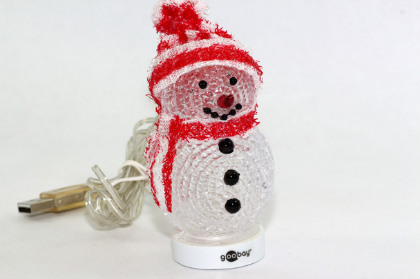 USB LED Christmas Snowman With Red Hat, Big Red Nose & XMAS Colour Changing