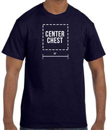center chest  printing location