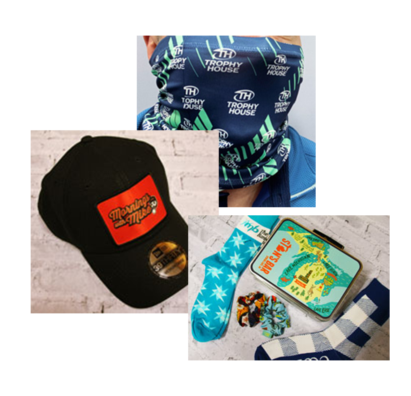 sublimated item collage