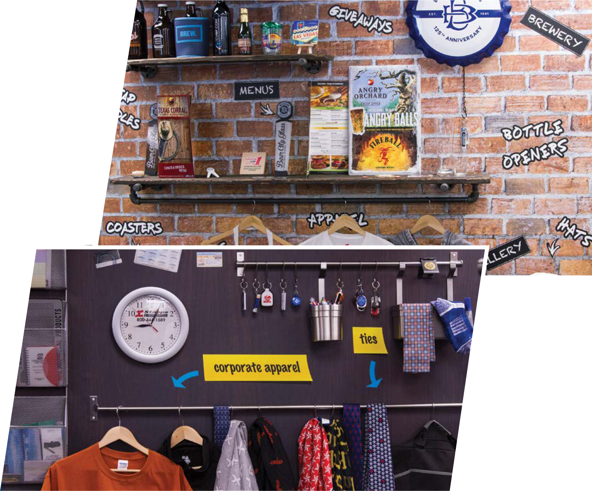 collage of custom items