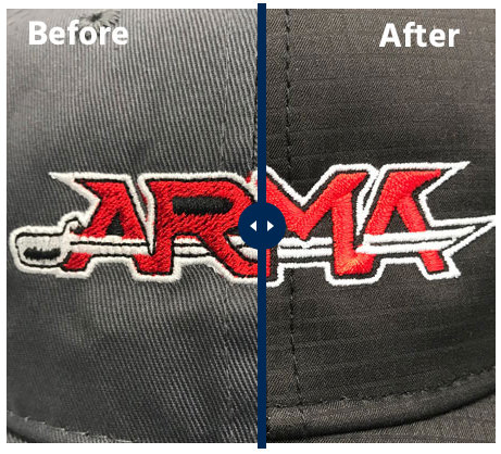 before and after embroidery design