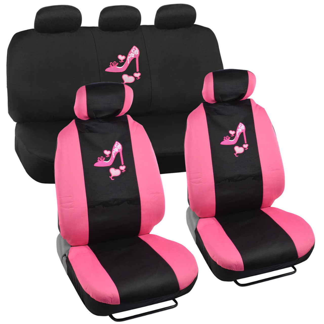 Heel on Hearts Girly 2-Tone PolyCloth Car Seat Cover Set for Front ...