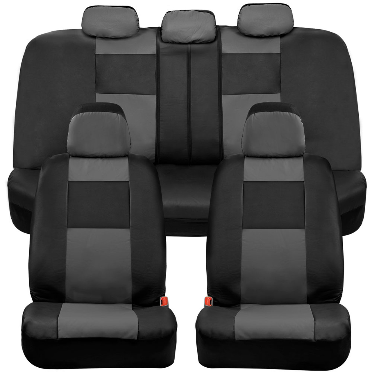 Washable Breathable 9 Part Gray /& Black Colors Car Seat Covers Protect Set